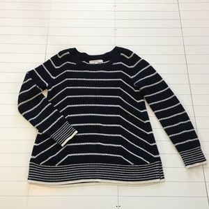 LOFT Navy and White Striped Sweater